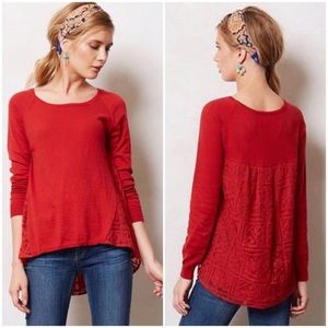 Anthropologie Yellow Bird Red Avery Lace Sweater S
